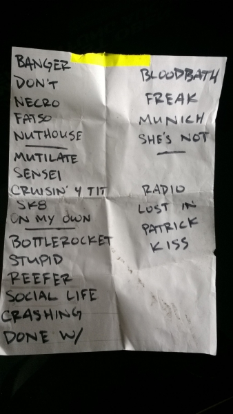 Teenage Bottlerocket - Setlist (09.08.2013, Hamburg)