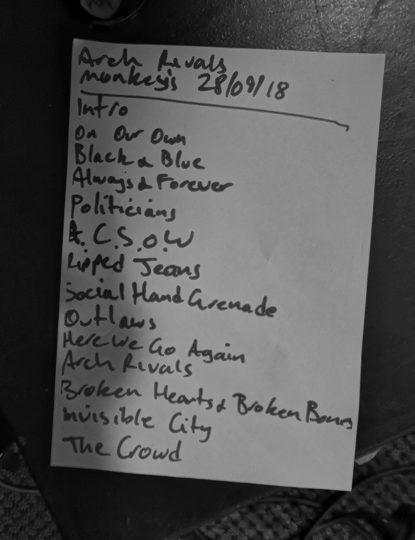 Arch Rivals - Setlist (Monkeys Music Club, Hamburg, 28.09.2018 (c) gehkacken.de)