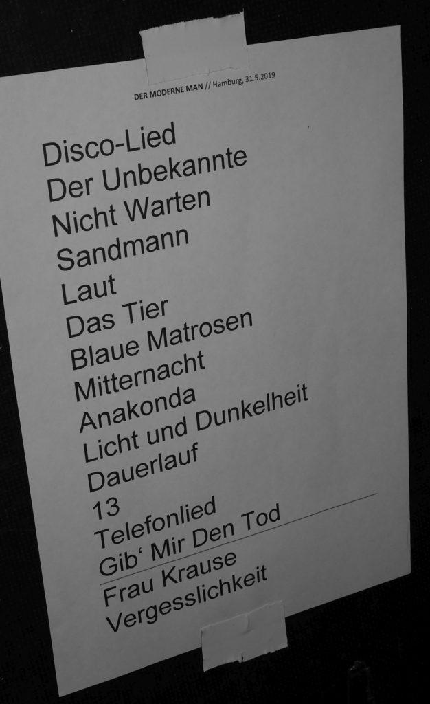 Der Moderne Man - Setlist (Hafenklang, Hamburg, 30.05.2019)